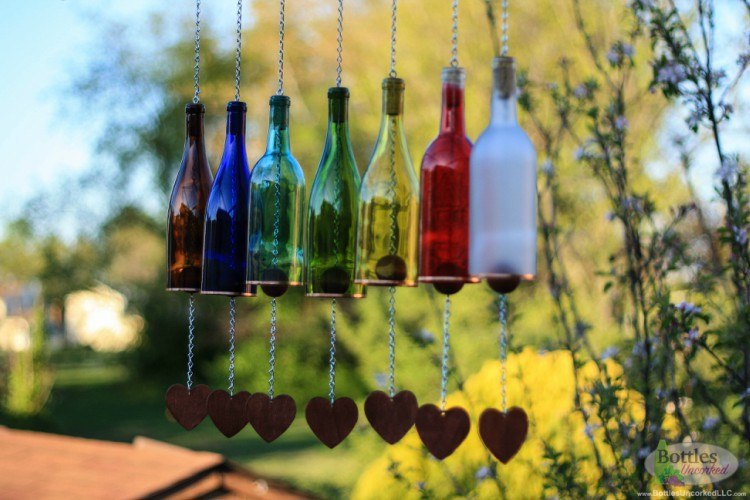 Wind chimes made of bottles.