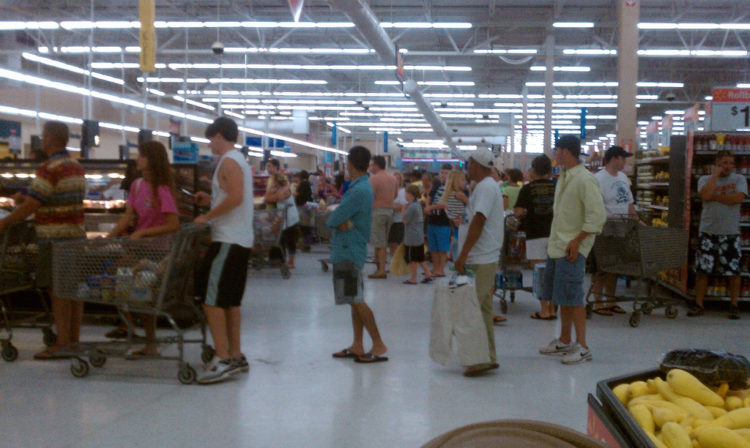 Image of line at Walmart.