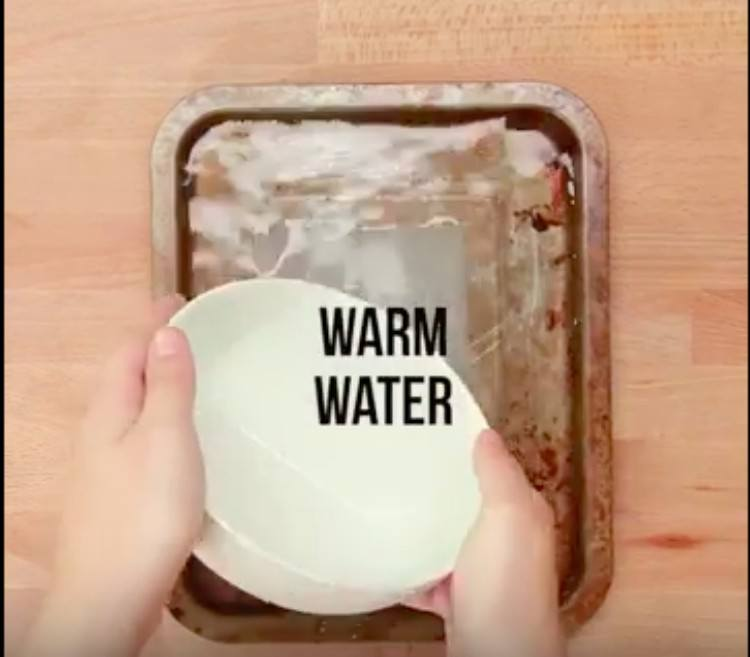 warm water in pan