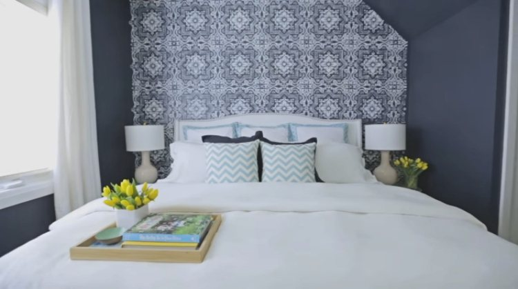 Symmetrical placement helps bedroom look stylish