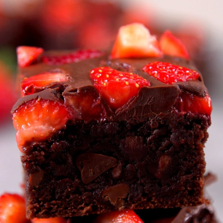 All the decadence of chocolate-covered strawberries in a brownie! These easy chocolate chunk brownies are topped with ripe strawberries & rich chocolate sauce.