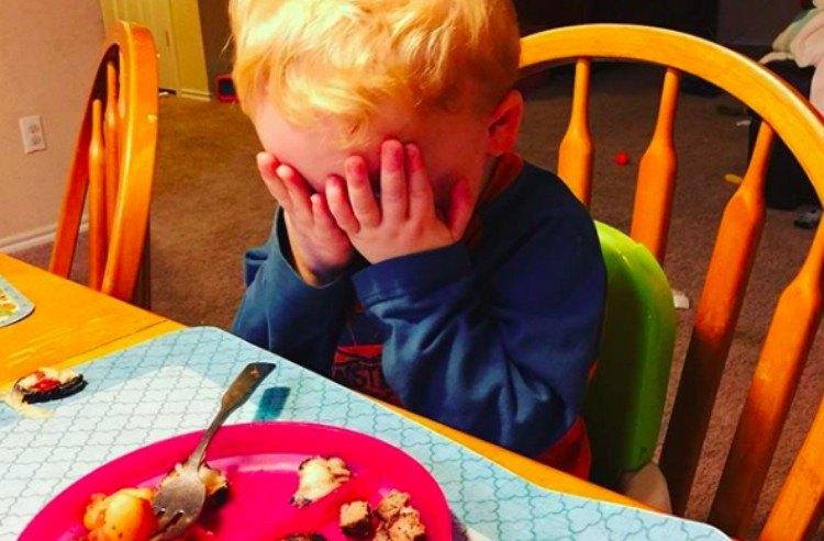 upset kids served dinner