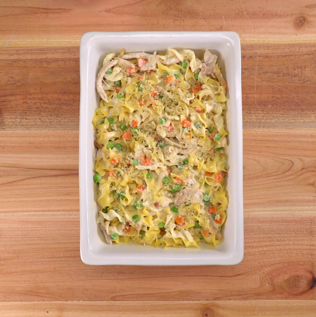 This 30-minute chicken noodle casserole has all of the comforting magic of the classic soup, but it's even creamier and heartier with a crunchy topping.