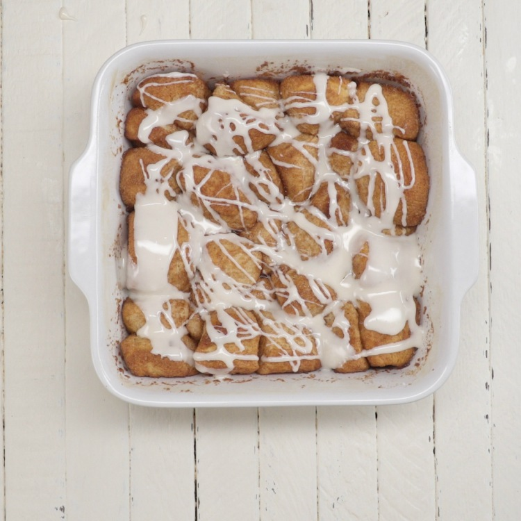 Overhead baked pan of cinnamon roll bites