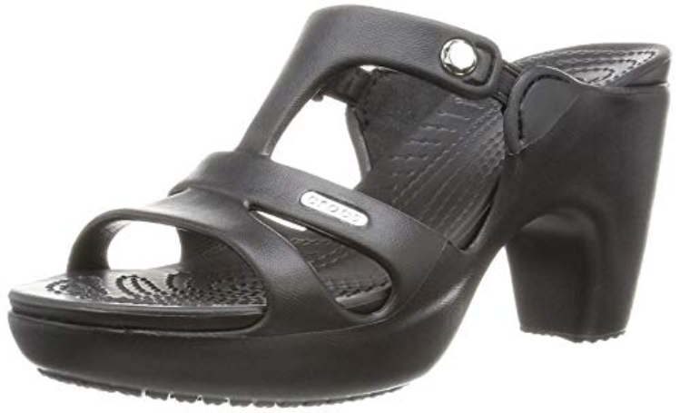 Image of black high-heeled crocs