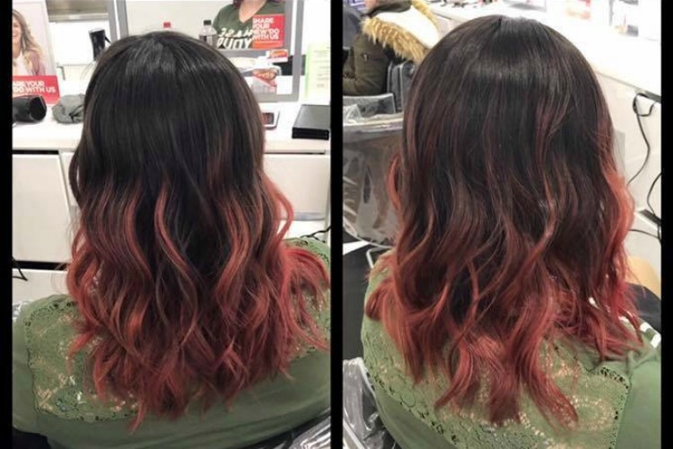 Depressed woman's hair after treatment from Ulta employee
