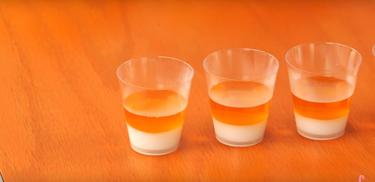 Pic of layered candy corn shots.
