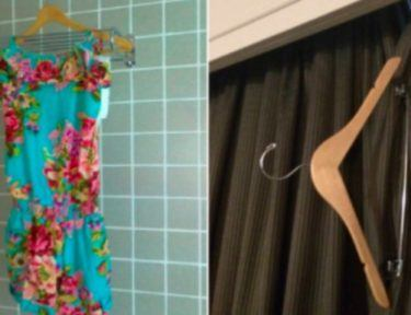 towel in bathroom with clothes hanger on curtain splitscreen