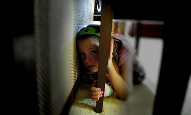 girl hiding