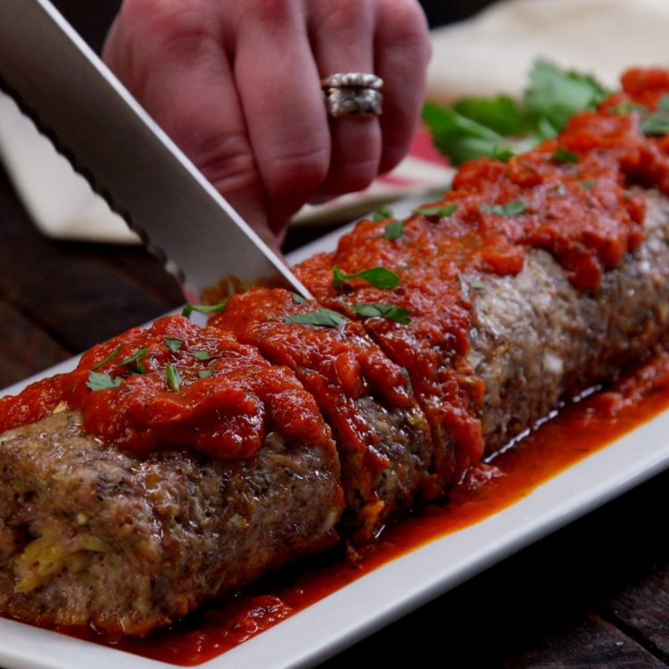 Pasta-Stuffed Meatloaf Roll marinara sauce slice