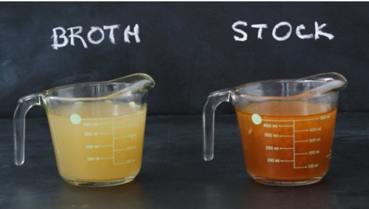 chicken broth and chicken stock comparison in measuring cups