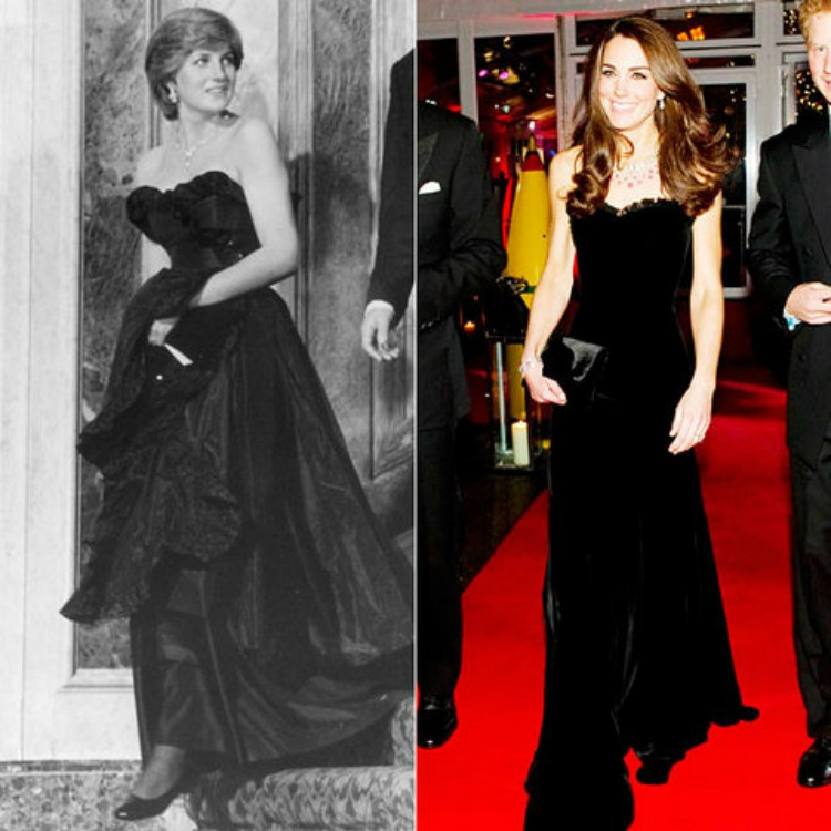 Image of Princess Diana and Kate Middleton wearing similar black gowns.