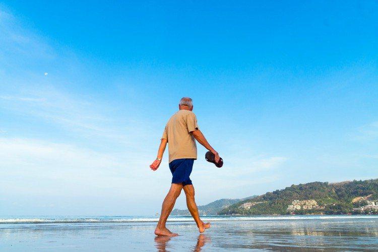 Pic of older gentleman walking.