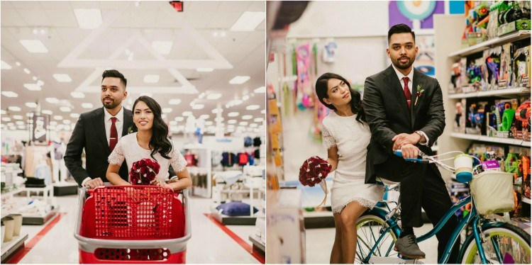 Image of couple's wedding shoot at Target.