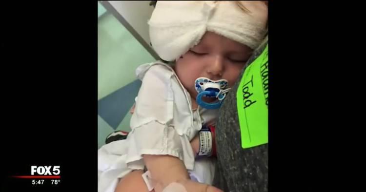 Image of bandaged toddler.