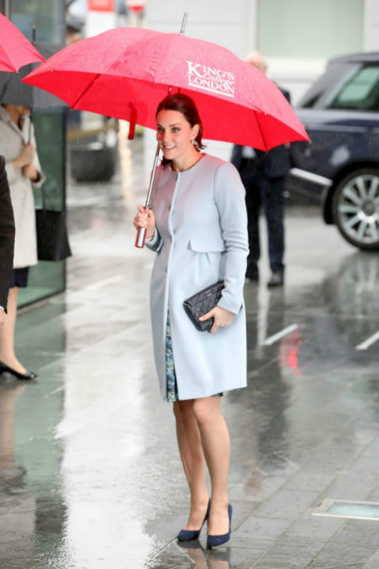Image of Kate Middleton in the rain.