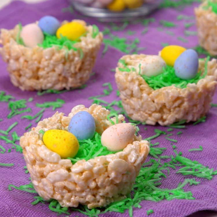 Rice Krispie Nests close-up on purple linen