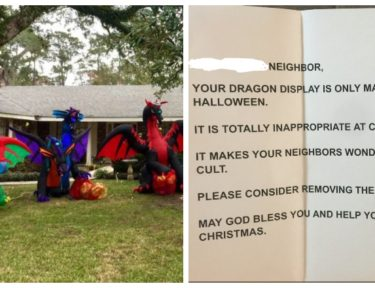 Split image of Christmas dragons and note