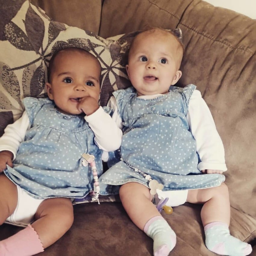 Mayla and Anaya, mixed raced twins.