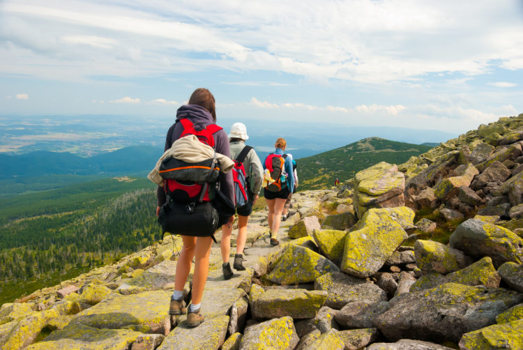 Image of People hiking in Karkonoszy mountains at summer