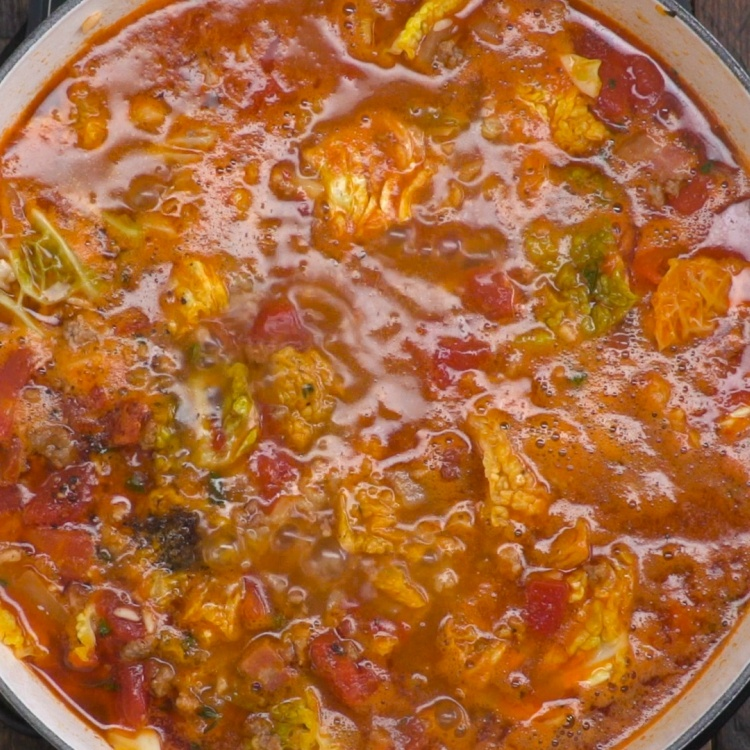Simmer cabbage roll soup for 12 to 15 minutes