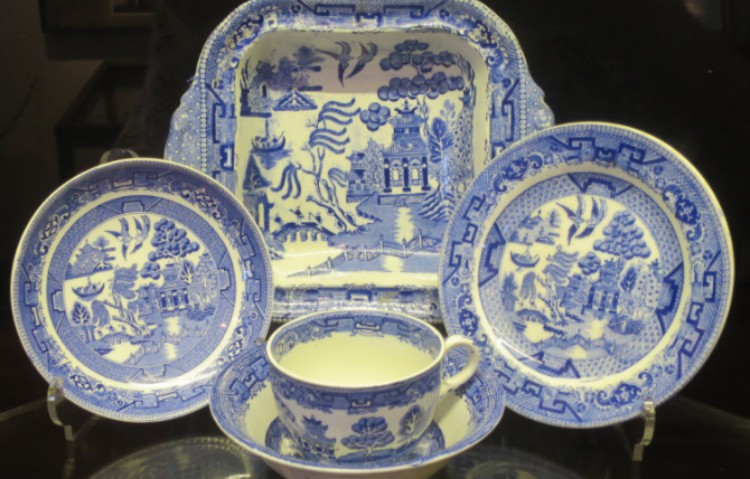assorted blue willow china