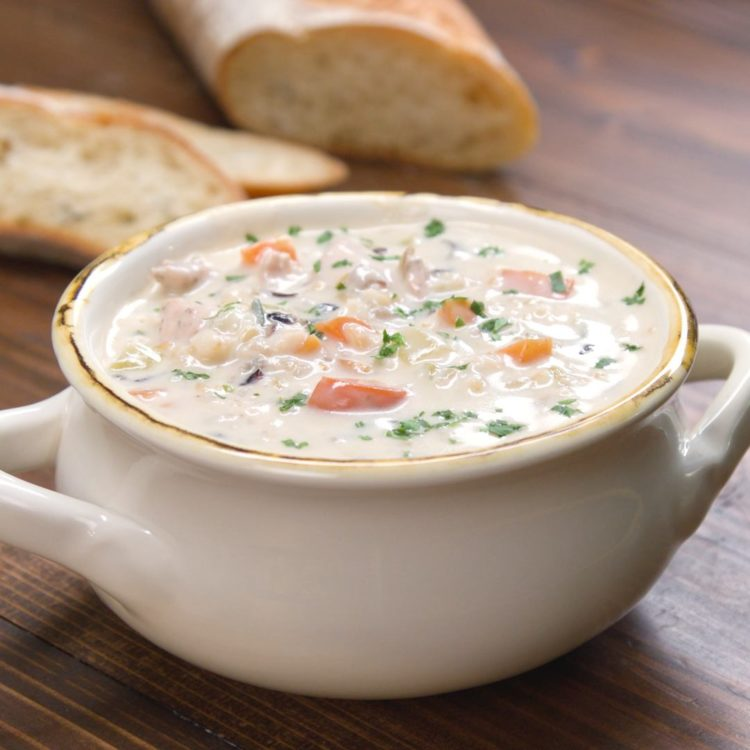 Creamy Chicken and Wild Rice Soup hero shot.