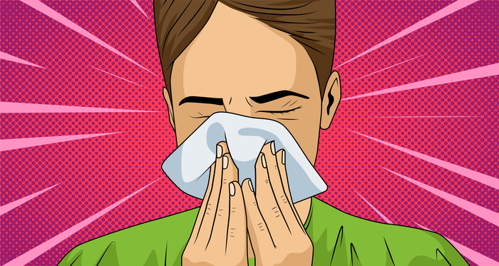 Illustration of man sneezing into a napkin.