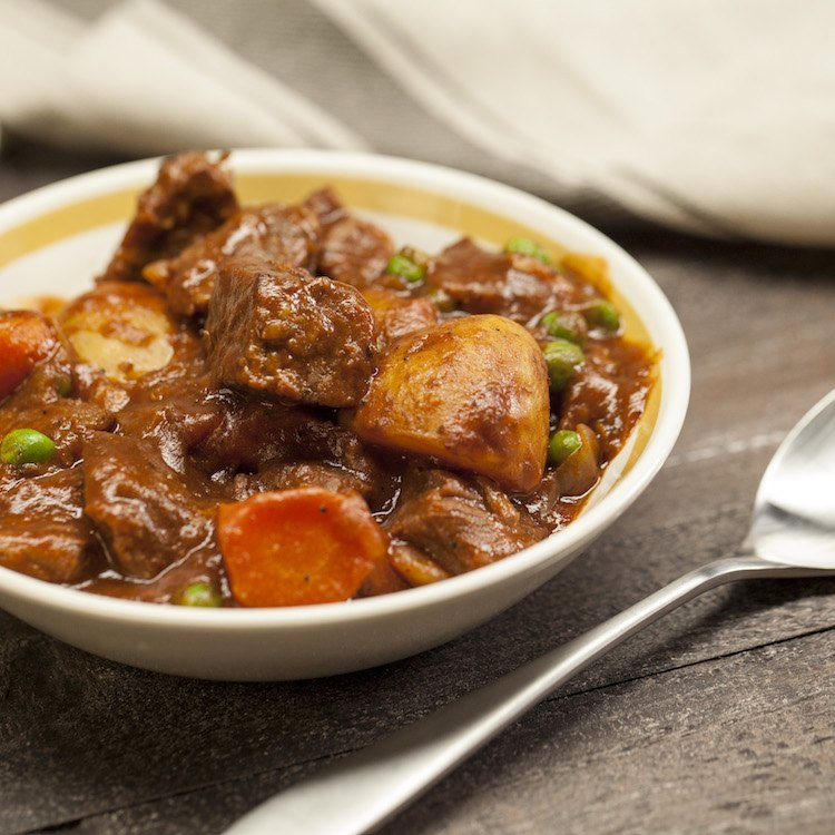 guinness beef stew in bowl