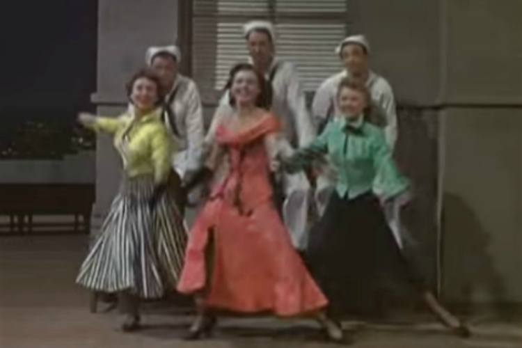 Frank Sinatra, Jules Munshin, Gene Kelly, Betty Garrett, Ann Miller and Vera Ellen in On The Town