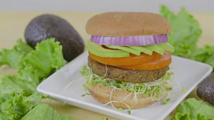 Vegetarian black bean burger that costs less than $1 per serving