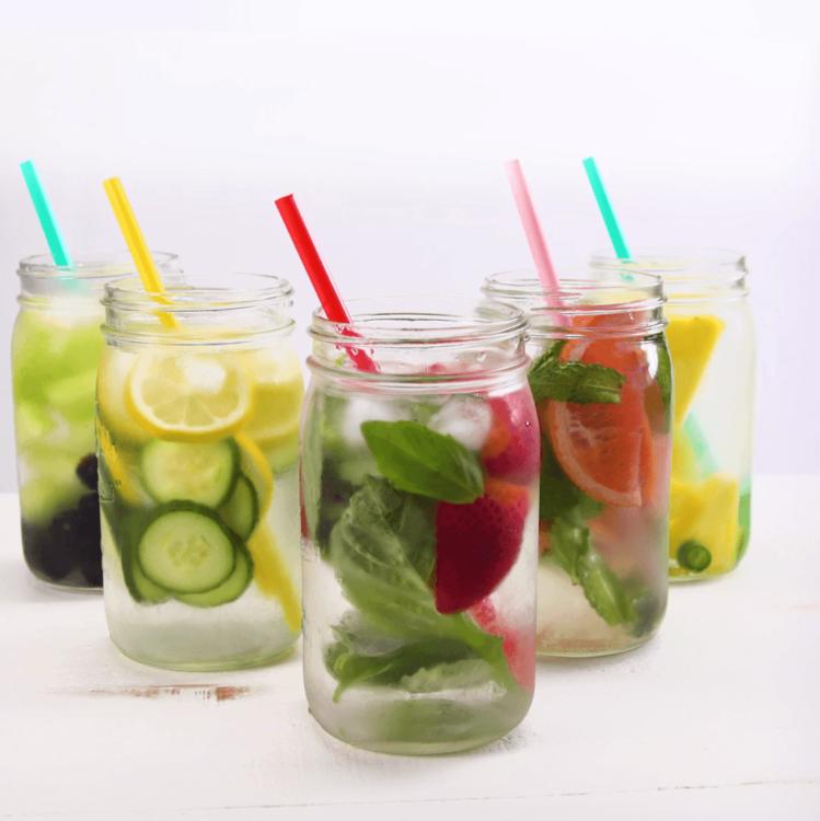 Fruit Infused Detox Water mason jars straws