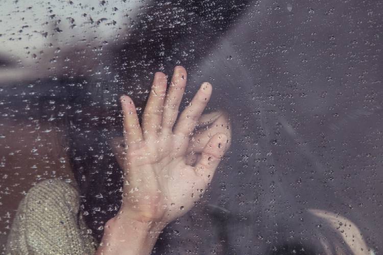 girl crying rain