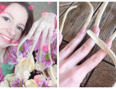 Split image of woman with record-breaking nails