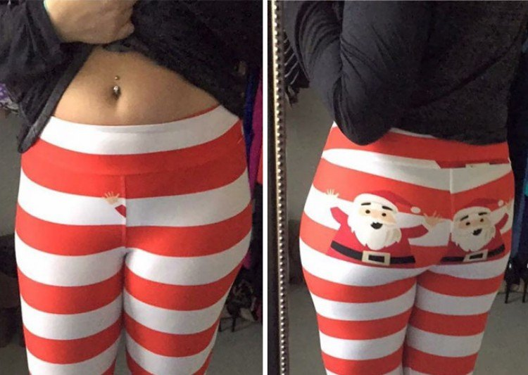Red and white striped leggings.
