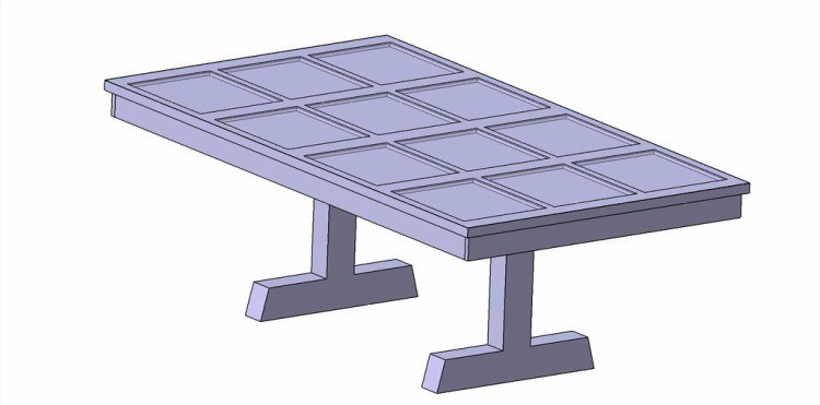 view of a design of the garage door table