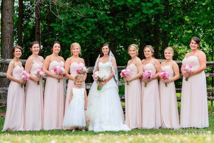 Matching bridal party.