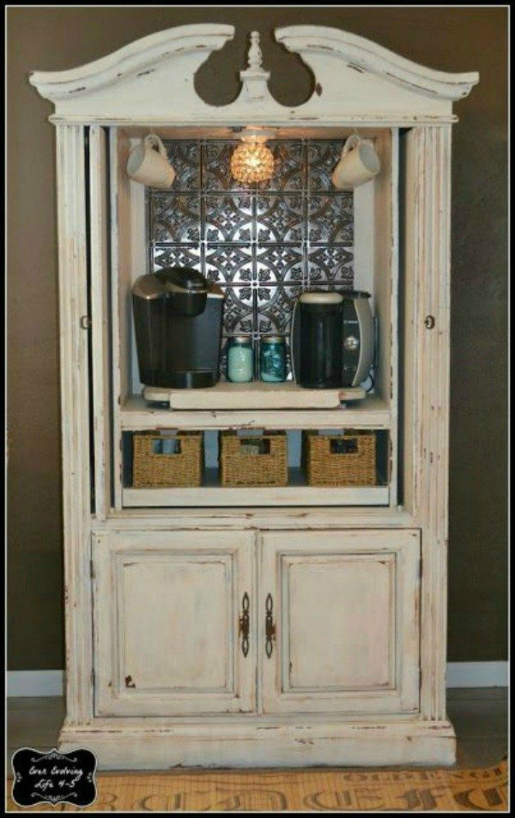 Coffee station made out of an old hutch.
