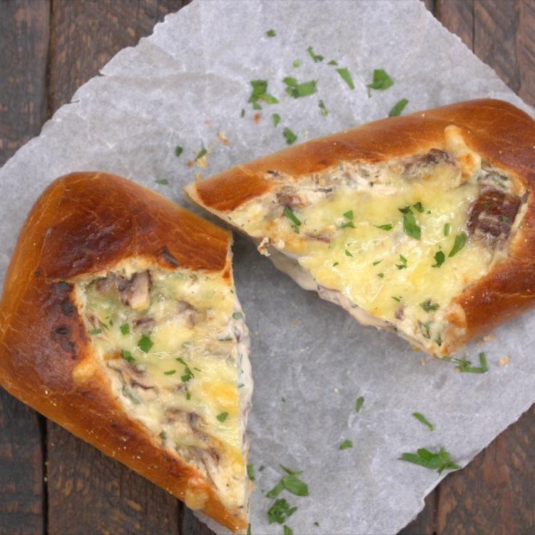 Overhead shot of slices or halves of mushroom-stuffed bread