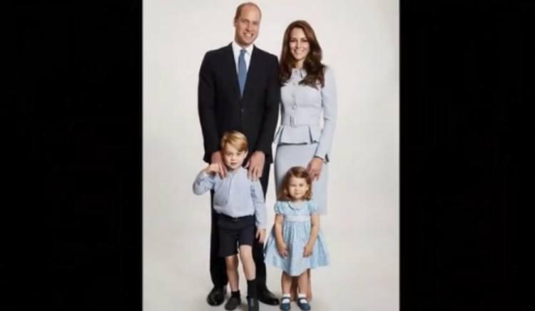 Royal family posing for Christmas card photo.