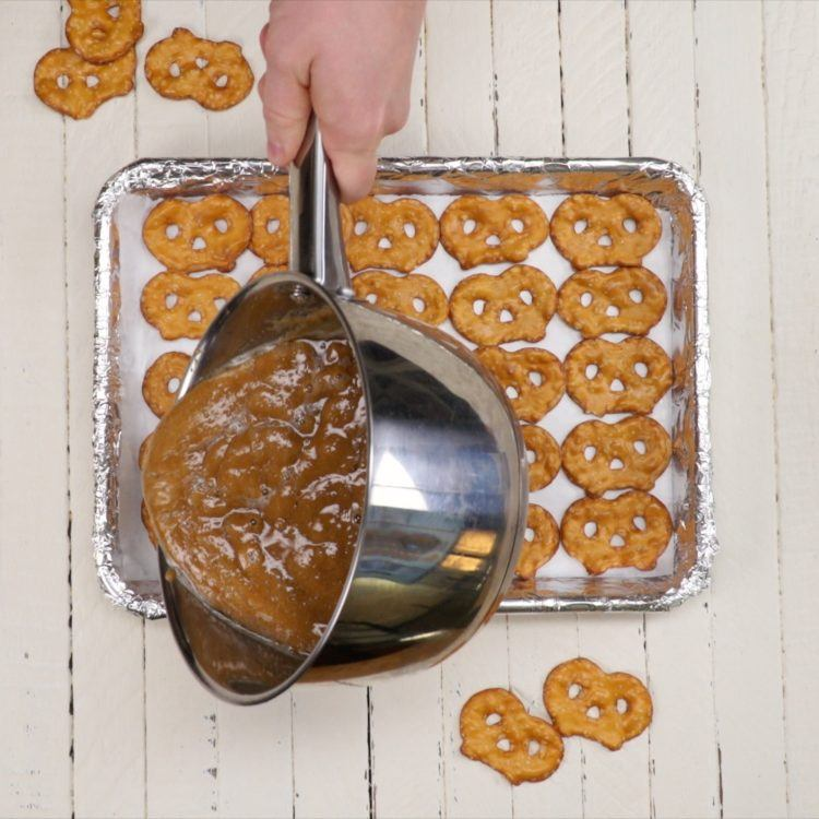 Drizzling Toffee on Pretzel Toffee Bark