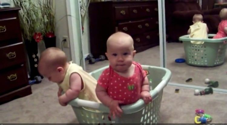 Cute twins fall over in laundry basket.