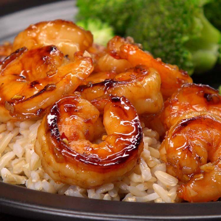 honey garlic shrimp close up