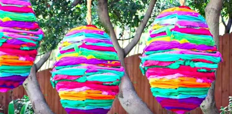 rag rug lamps hanging in yard