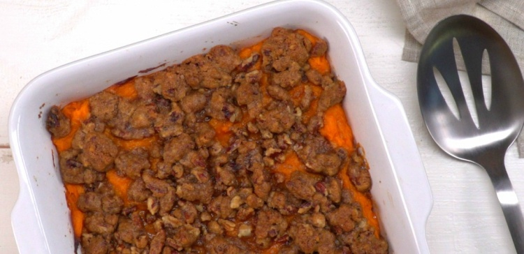 Close-up of sweet potato casserole