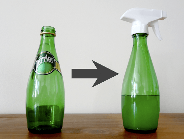 Glass bottle used as a sprayer.