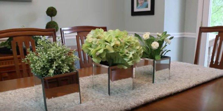 mirrored flower pot
