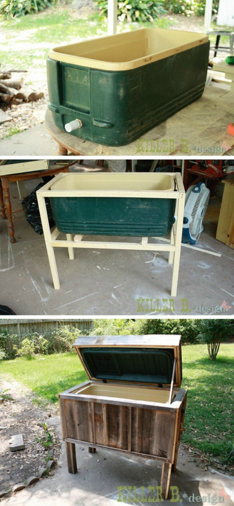 Rustic ice chest made of cooler.