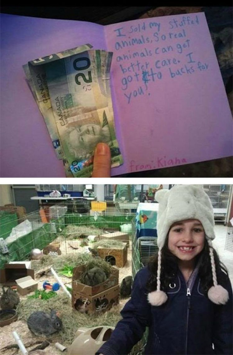 Image of little girl selling her stuffed animals for a better cause