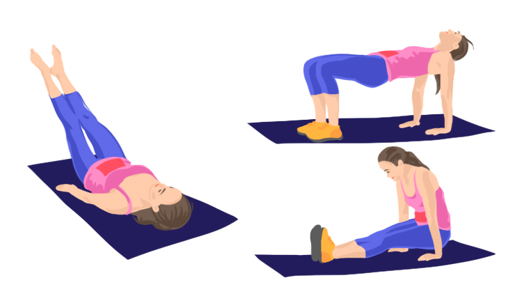Image of woman doing various ab workouts.